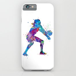 Volleyball Girl Watercolor Art Print Sports Art Home Decor Birthday Gift Painting iPhone Case