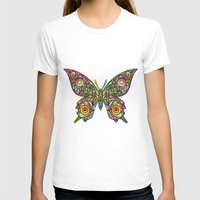 psychedelic art T-shirts featuring Butterfly Psychedelic Art Design by BluedarkArt