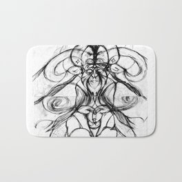 Man with bee and horns Bath Mat