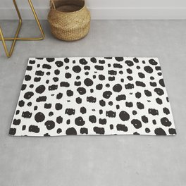 Hand Drawn Ink Spots – Black and White Art Rug