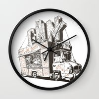 truck Wall Clocks featuring Shopping Truck by Mitt Roshin