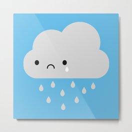 Sad Kawaii Rain Cloud Metal Print