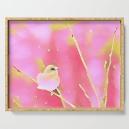 Junco Pink Yellow by CheyAnne Sexton Serving Tray