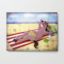 Itsy Bitsy Teenie Weenie Yellow Polka Dot Thong Unicorn Metal Print