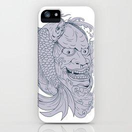 Hannya Mask and Koi Fish Drawing iPhone Case