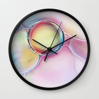 bubble Wall Clocks featuring Bubble by Sharon Johnstone