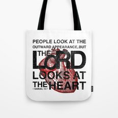 God looks at the heart Tote Bag