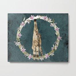 Lar Gibbon Lily Wreath Metal Print