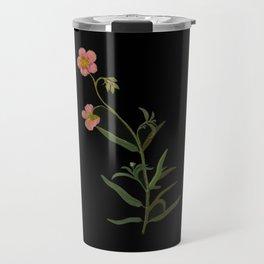 Cistus Helianthemum Mary Delany Delicate Paper Flower Collage Black Background Floral Botanical Travel Mug