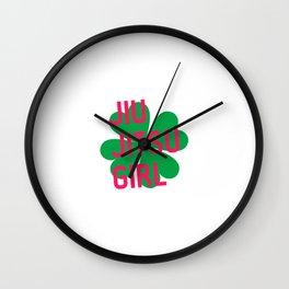 Jiu Jitsu Girl Irish St Patricks Day Shamrock BJJ Wall Clock