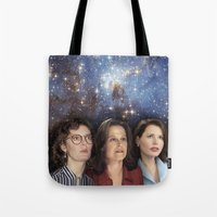 yankees Tote Bags featuring THE THREE GREAT LADIES by Kaitlin Smith