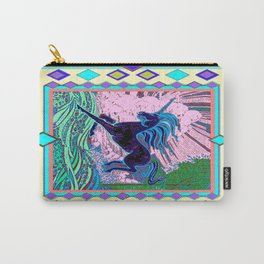 Blue Mythical Unicorn in Meadow Abstract Carry-All Pouch