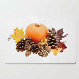 Pumpkin with pine cones and leaves Cutting Board