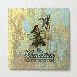 Hawaiian Surf Shack and Hula Girl Designs Metal Print