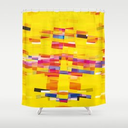 yellow pixel storm Shower Curtain
