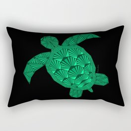 Art Deco Turtle on Black Rectangular Pillow