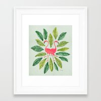 flamingos Framed Art Prints featuring Flamingos by Cat Coquillette