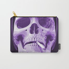 Skull Smoking Cigarette Purple Carry-All Pouch
