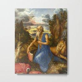Saint Jerome in the Wilderness by Albrecht Dürer Metal Print