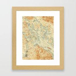 Vintage Map of Lake Winnipesaukee (1907) Framed Art Print