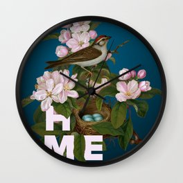 Digital Collage That Reminds Us Of Home Back In The Nest Wall Clock
