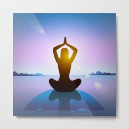 Yoga Studio Calming Purple / Blue Sukhasana Pose Metal Print