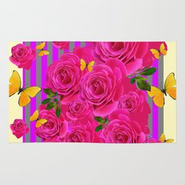 PINK GARDEN ROSES & YELLOW BUTTERFLIES MODERN ART FROM SOCIETY6   BY SHARLESART. Rug