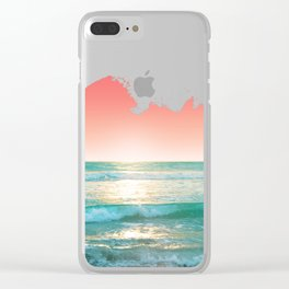 Aqua and Coral, 1 Clear iPhone Case
