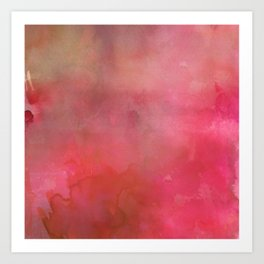 Abstract pink coral hand painted watercolor paint Art Print
