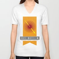 martell V-neck T-shirts featuring House Martell Sigil V2 by P3RF3KT