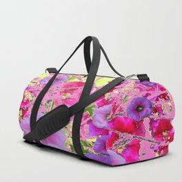 CONTEMPORARY PINK & LILAC HOLLYHOCKS ART Duffle Bag