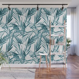 Tropical Dark Teal Inspired by Sherwin Williams 2020 Trending Color Oceanside SW6496 Watercolor Botanical Palm Leaves on Pure White Wall Mural