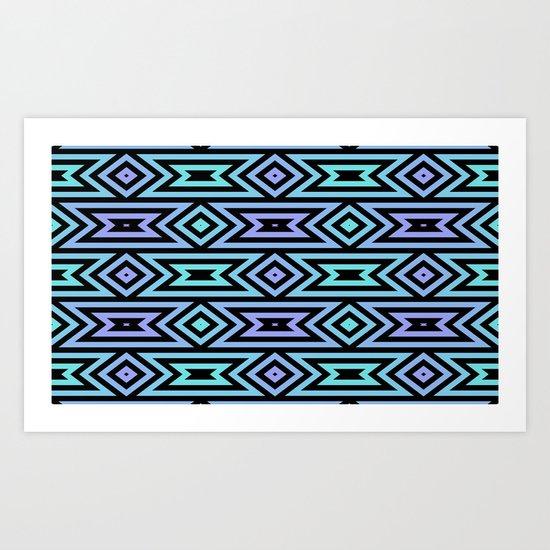 Lilac/Teal Tribal Art Print