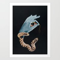 all seeing eye Art Prints featuring All seeing eye I. by Daniela Samcova Collage