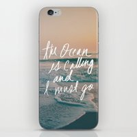 leah flores iPhone & iPod Skins featuring The Ocean is Calling by Laura Ruth and Leah Flores  by Laura Ruth