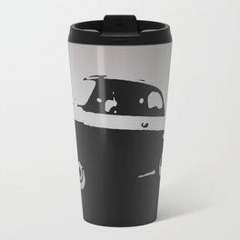 Fiat 500 classic, Gray on Black Travel Mug