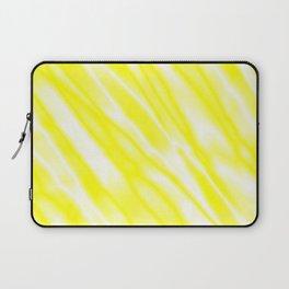 Light metal crooked mirror with yellow white diagonal stripes. Laptop Sleeve