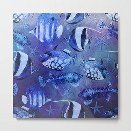 Watercolor fish pattern dark blue Metal Print