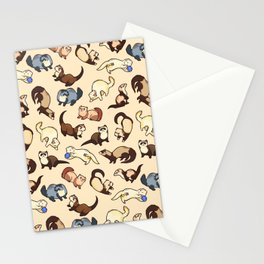 Ferrets in cream Stationery Cards