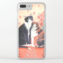 Cats with roses Clear iPhone Case