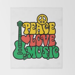 Reggae Peace Love and Music Throw Blanket