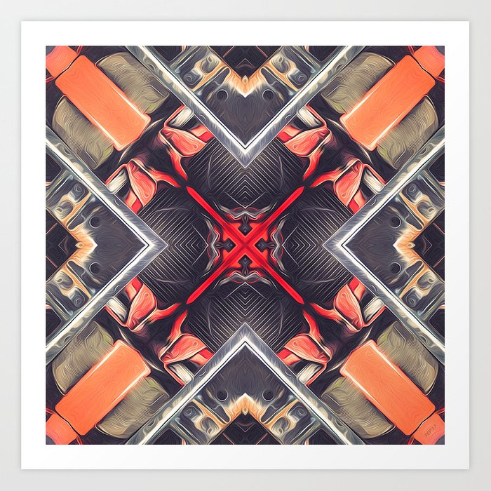 Orange Automotive Abstract Art Print