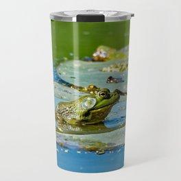 American Bullfrog on a Lily Pad Travel Mug