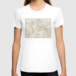 Vintage Map of the Worlds Mammals (1850) T-shirt