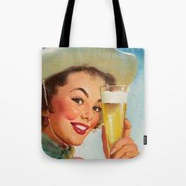 Pin Up Girl and Beer Vintage Art Tote Bag