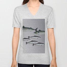 Tuna an Salmon Fish grey Unisex V-Neck