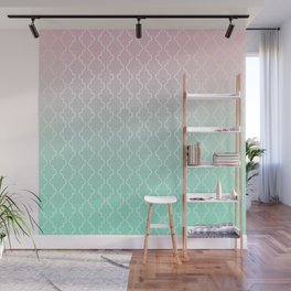 Moroccan pattern with mint, pink and gold Wall Mural
