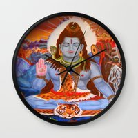shiva Wall Clocks featuring Shiva by Antonimo-discipulosinmaestro