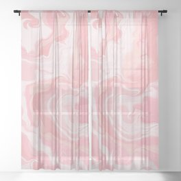 Elegant abstract pink coral white watercolor marble Sheer Curtain