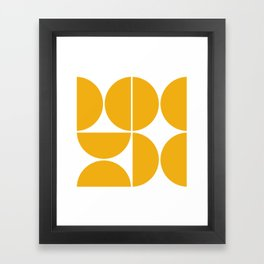Mid Century Modern Yellow Square Framed Art Print